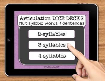 NO PRINT Multisyllabic Words Speech Therapy Articulation  Game