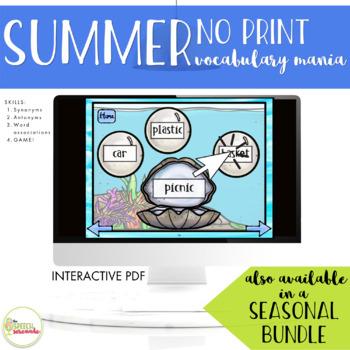 NO PRINT Summer Vocabulary Mania