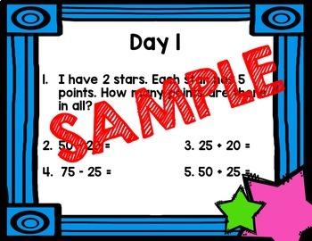 NO PRINT Third Grade Daily Math Warm Ups - Quarter 1