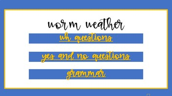 NO PRINT WORM WEATHER SPEECH THERAPY COMPANION