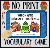 NO-PRINT Which One Doesn't Belong Vocabulary Game: Gingerbread Edition