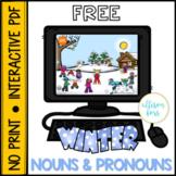 FREE NO PRINT Winter Nouns and Pronouns Speech Therapy