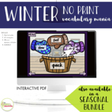 NO PRINT Winter Vocabulary Mania Teletherapy and On The Go