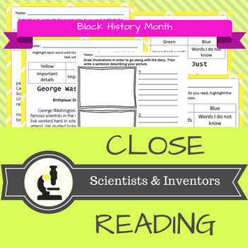 NO Prep Close Reading Black History Month - Scientists and Inventors