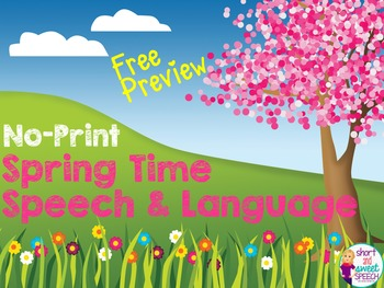FREE NO-Print Spring Speech and Language Preview