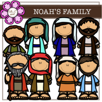 NOAH'S FAMILY digital clipart (color and black&white)