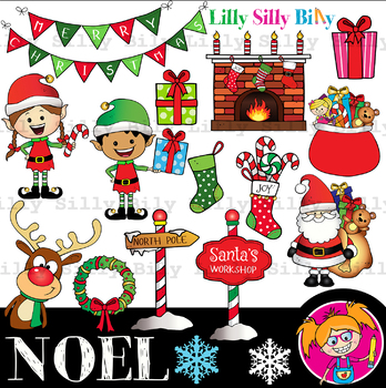 Noel Clipart Black And White Color Bundle Lilly Silly Billy