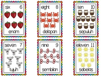 NOMOR angka numbers to 20 POSTERS flashcards BAHASA INDONESIA indonesian