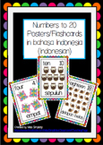 NOMOR angka numbers to 20 POSTERS flashcards BAHASA INDONE