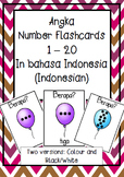 NOMOR angka numbers to 20 flashcards BAHASA INDONESIA indonesian