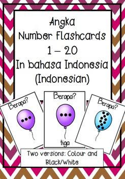 NOMOR angka numbers to 20 flashcards BAHASA INDONESIA indonesian