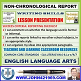 NON-CHRONOLOGICAL REPORT WRITING : LESSON PRESENTATION