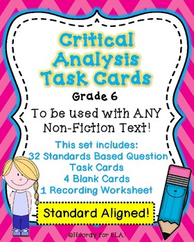 NON-FICTION CRITICAL ANALYSIS TASK CARDS