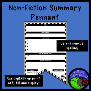 NON FICTION summary sheet PENNANT digital or print off and display