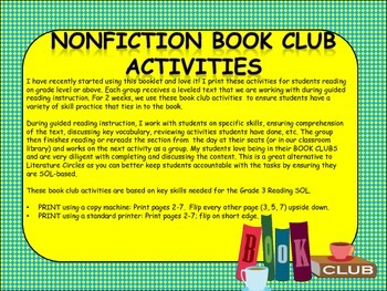 NONFICTION BOOK CLUB ACTIVITIES
