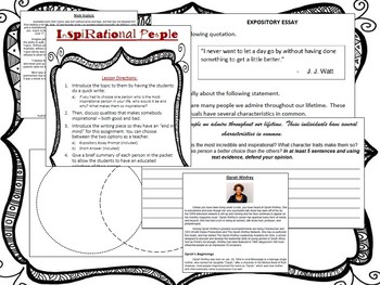 NONFICTION/EXPOSITORY Lesson Plan - Who is the most inspirational person?