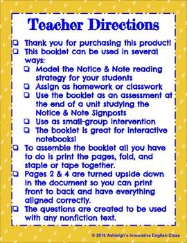 NONFICTION Notice & Note Signposts Booklet