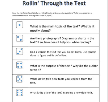NONFICTION READ,ROLL AND ANSWER