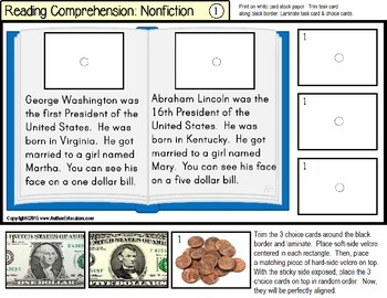 NONFICTION Reading Comprehension LARGE Task Cards for Autism with DATA