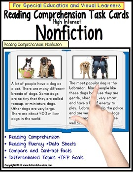 NONFICTION Reading Comprehension LARGE Task Cards for Auti