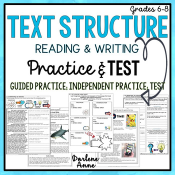 TEXT STRUCTURE READING & WRITING: PRACTICE WORKSHEETS & TEST by ...