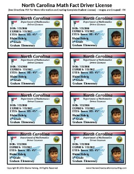 NORTH CAROLINA Math Driver's License - Math Fact Incentive Prog.-TEMPLATE - FREE