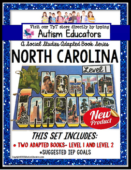 NORTH CAROLINA State Symbols ADAPTED BOOK for Special Education and Autism
