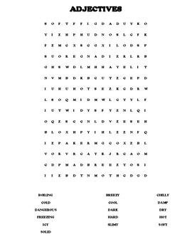 NORTH DAKOTA Adjectives Worksheet with Word Search