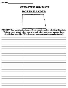 NORTH DAKOTA CREATIVE WRITING  DIFFERENTIATED WORKSHEET