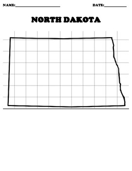 NORTH DAKOTA Coordinate Grid Map Blank