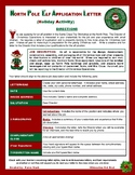 """CHRISTMAS ACTIVITY - """"North Pole Elf Application Letter"""" ("""