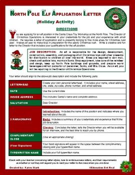"CHRISTMAS ACTIVITY - ""North Pole Elf Application Letter"" (FUN STUFF)"