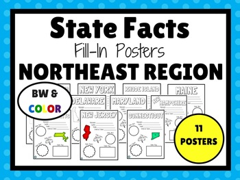 NORTHEAST STATES Fill-In Poster Set (11 states)