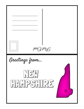 NORTHEAST REGION STATES Fill In POSTCARDS (BW & COLOR)