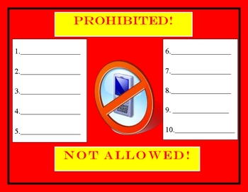 NOT ALLOWED POSTER CLASSROOM FORM