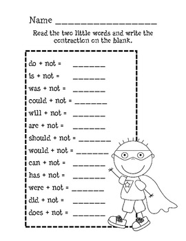 NOT Contractions Mini Unit : Grammar, Language Activities