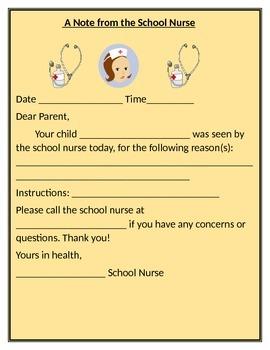 SCHOOL NURSE NOTE