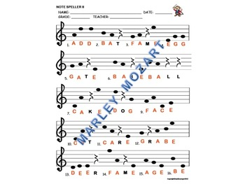 NOTE SPELLER II For Treble Staff!  Great for Assessment and Music Substitutes!