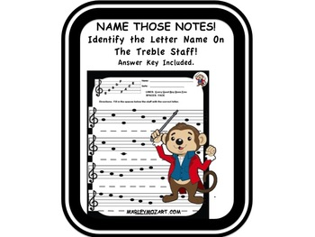 NOTE SPELLER- Name Those Notes Treble Staff! Great for Music Subs (w Answer Key)