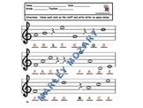 NOTE SPELLER WORKSHEET TREBLE STAFF- GREAT FOR ASSESSING OR MUSIC SUBSTITUTES!