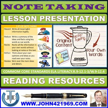 NOTE TAKING READY TO USE LESSON PRESENTATION
