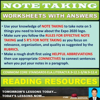 NOTE TAKING TASK CARDS