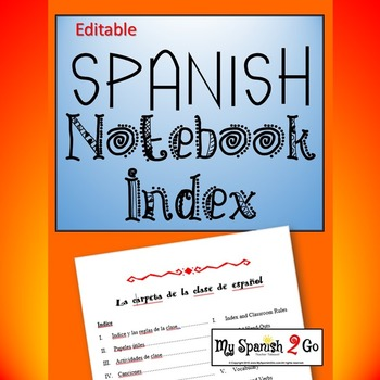 NOTEBOOK:  An editable index for binders for Spanish Class