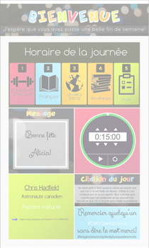 (FR + EN) NOTEBOOK -  Menu du jour avec icônes - Today's schedule