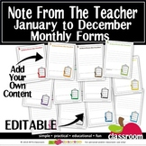EDITABLE NOTES FROM THE TEACHER TEMPLATES in POWERPOINT