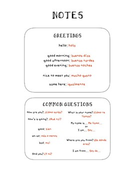 NOTES - GREETINGS IN SPANISH