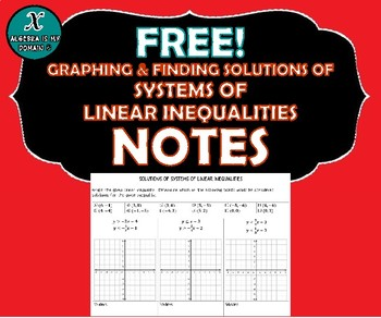 NOTES - Graphing & Solutions of Systems of Linear Inequalities