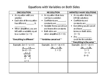 NOTES: Multi-Step Equations with variables on both sides