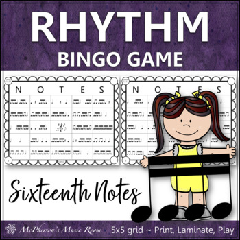 Sixteenth Note Rhythm Bingo Game (tiri-tiri)