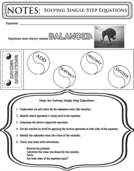 NOTES Single Step Equations Solving One-Step Problems Interactive Notebook